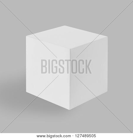 White Box (cube) On Gray Background
