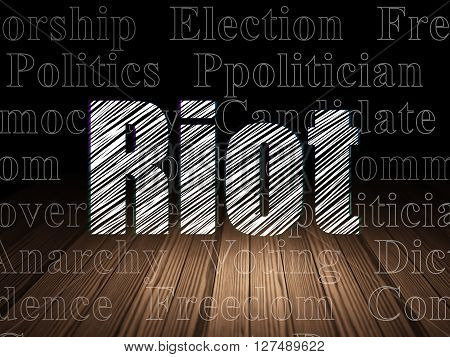 Politics concept: Glowing text Riot in grunge dark room with Wooden Floor, black background with  Tag Cloud