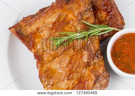 Hot Smoked Barbecue Ribs On White Plate