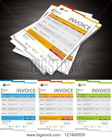 Vector illustration of creative invoice template in 3 colors.