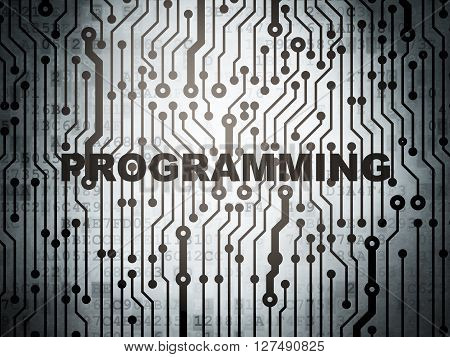 Programming concept: circuit board with  word Programming, 3D rendering
