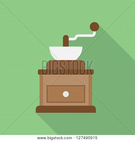 classic coffee grinder in wooden case vector illustration