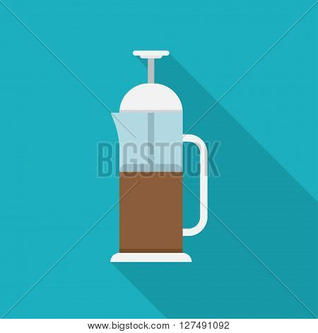 French press for making coffee and tea kitchenware vector. Glass teapot with herbal tea. Transparent french teapot with herbal tea. Health drink red herbal tea french teapot. Glass teapot with tea.