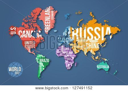 World Map With Borders And Country Names Color