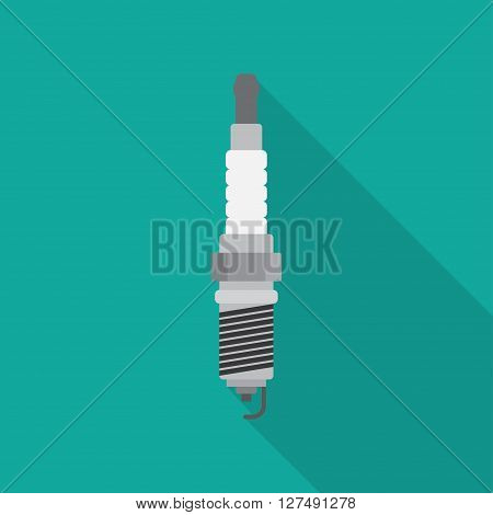 spark-plug icon with lightning sign. concept of service station spare parts automotive components. flat style modern logotype design vector illustration