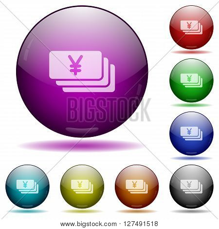 Set of color Yen banknotes glass sphere buttons with shadows.