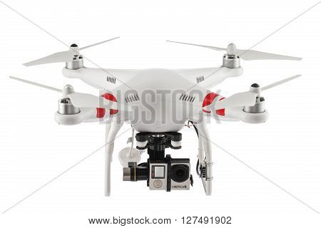 Varna Bulgaria - April 23 2016: Image of quadcopter Dji Phantom 2 with digital camera GoPro HERO4 isolated on white