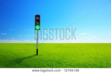 sunny spring day and traffic light