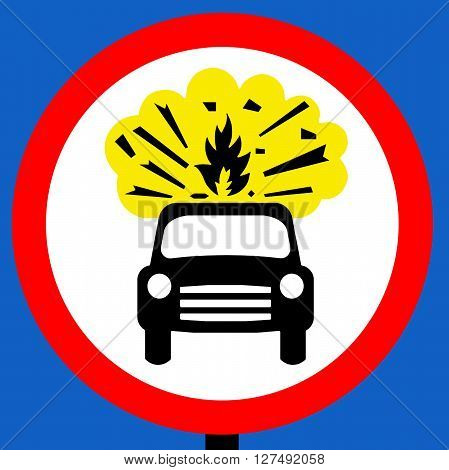 A No vehicles carrying explosives traffic sign