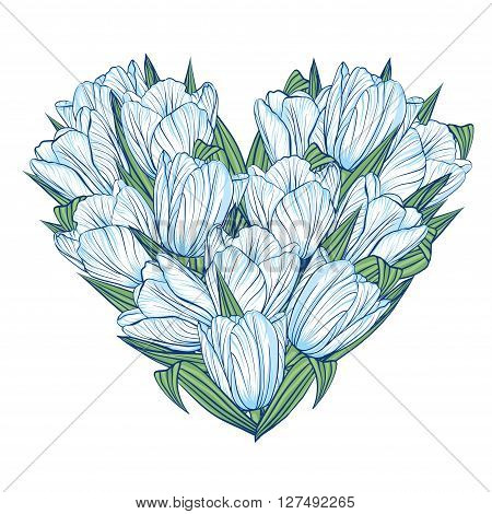 Decorative floral background with flowers of tulips