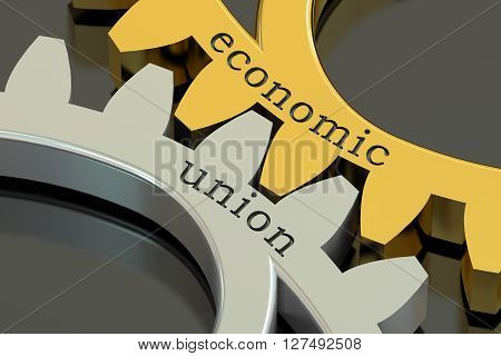 Economic Union concept on the gearwheels 3D rendering