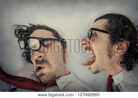 Angry twin blows away other twin by yelling in his ear