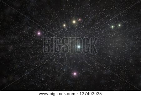 Aquila constellation zodiac 3D illustration with colorful stars