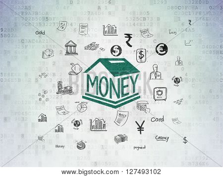 Banking concept: Painted green Money Box icon on Digital Data Paper background with  Hand Drawn Finance Icons