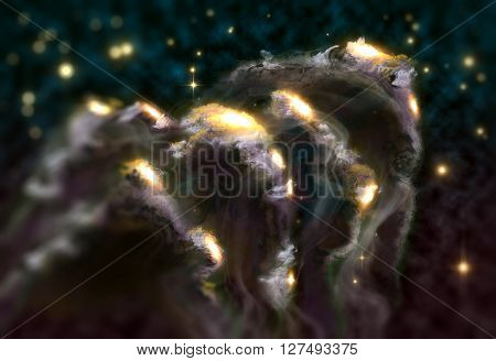 Giant universe starscape 3D illustration with colorful space clouds