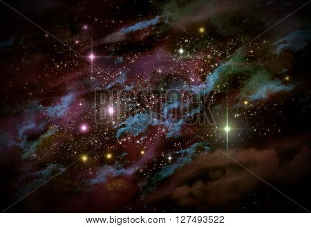 Giant universe starscape backdrop with colorful space clouds