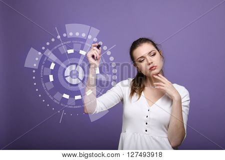 Future computer technology. Woman working with futuristic interface