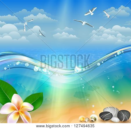 Vector illustration of beautiful colorful Summer Seascape