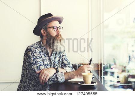 Writer Bar Counter Beard Mustache Cafe Coffee Concept