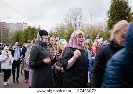 Minsk BELARUS April 24, 2016: Palm Sunday in the Church of the  of St. Seraphim Sarovsky. Orthodox Christian religious holiday.