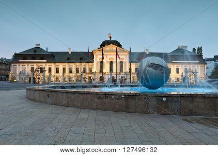BRATISLAVA, SLOVAKIA - APRIL 24, 2016: Evening view of presidential palace in Bratislava, Slovakia on April 24, 2016.