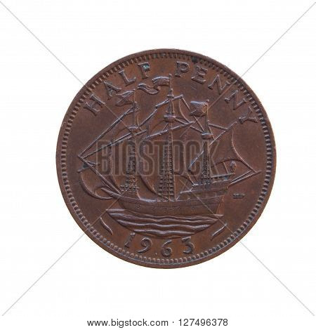 Half penny coin (GBP) released in 1963