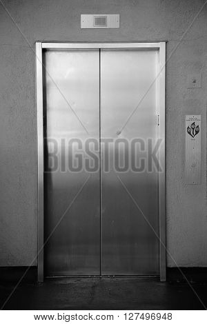 The close-up of a passenger elevator with automatic sliding doors.
