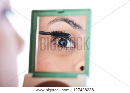Woman Pu Make Up With Brush