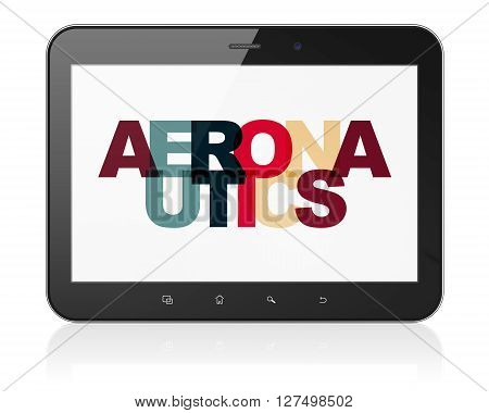 Science concept: Tablet Computer with Painted multicolor text Aeronautics on display, 3D rendering