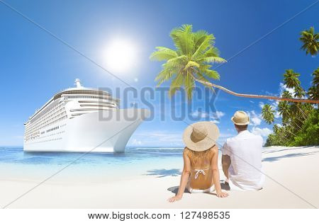 Love Couple Sitting Beach Life Concept