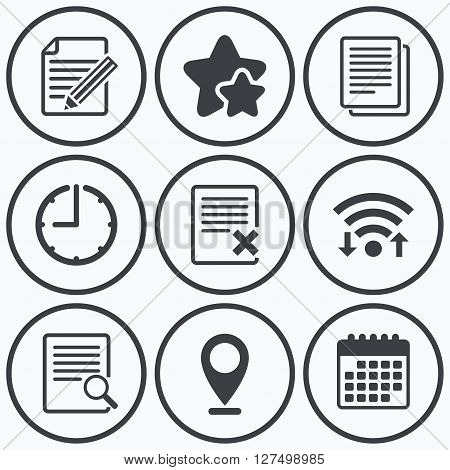 Clock, wifi and stars icons. File document icons. Search or find symbol. Edit content with pencil sign. Remove or delete file. Calendar symbol.