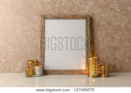 Blank Picture frame on the wall and a candles