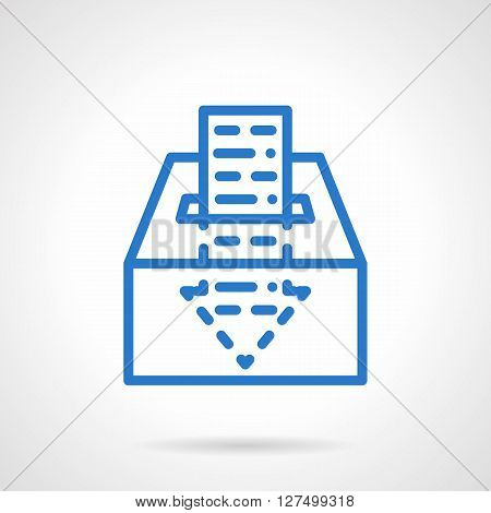 Donation box with income sign. Abstract paper arrow moves in to box. Financial fund. Business concept. Simple blue line vector icon. Single element for web design, mobile app.