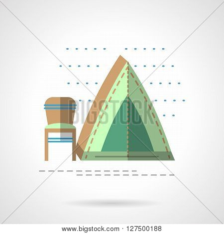 Outdoors leisure. Camping and fishing. Green tent with folding chair. fishing tent Flat color style vector icon. Web design element for site, mobile and business.