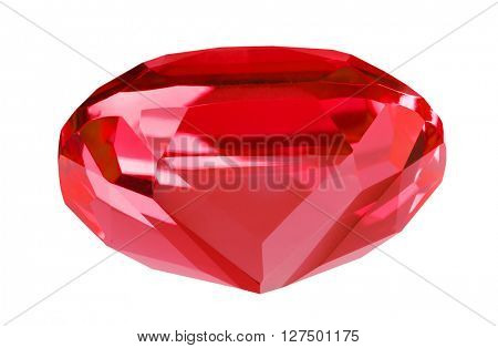 red ruby isolated on white background