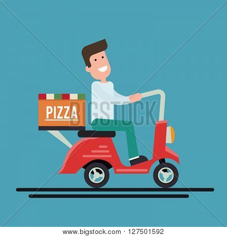 Pizza delivery courier on a scooter. Flat vector illustration