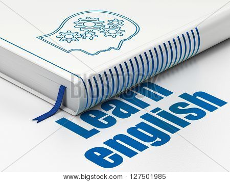 Studying concept: closed book with Blue Head With Gears icon and text Learn English on floor, white background, 3D rendering