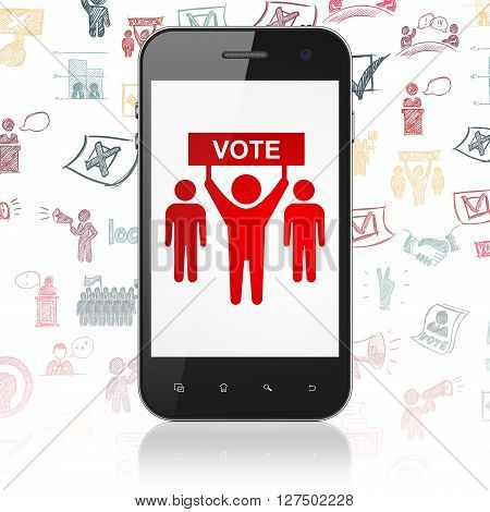 Politics concept: Smartphone with  red Election Campaign icon on display,  Hand Drawn Politics Icons background, 3D rendering