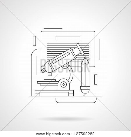 Optical microscope, pencil and note board. Chemical or biology laboratory research, school lesson. Education and science. Detailed line vector icon. Web design elements for business, site, mobile app.