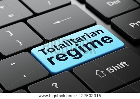 Politics concept: computer keyboard with word Totalitarian Regime, selected focus on enter button background, 3D rendering