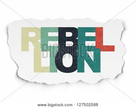 Politics concept: Painted multicolor text Rebellion on Torn Paper background