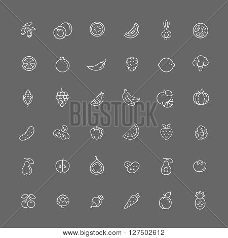 Fruit and Vegetables outline icons. Organic food