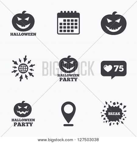 Calendar, like counter and go to web icons. Halloween pumpkin icons. Halloween party sign symbol. All Hallows Day celebration. Location pointer.