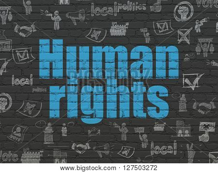 Political concept: Painted blue text Human Rights on Black Brick wall background with  Hand Drawn Politics Icons