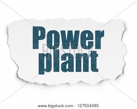 Manufacuring concept: Painted blue text Power Plant on Torn Paper background with  Tag Cloud