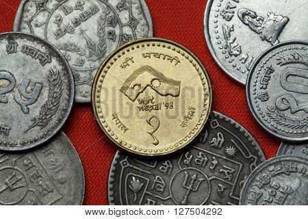 Coins of Nepal. Nepalese commemorative one rupee coin dedicated to the 1998 Visit Nepal Year.