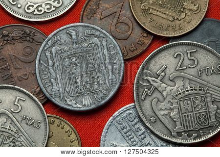 Coins of Spain under Franco. Coat of arms of Spain under Franco depicted in the Spanish 10 centimos coin (1941).