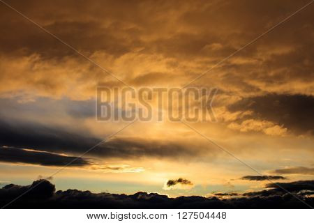 View on evening cloudy sky