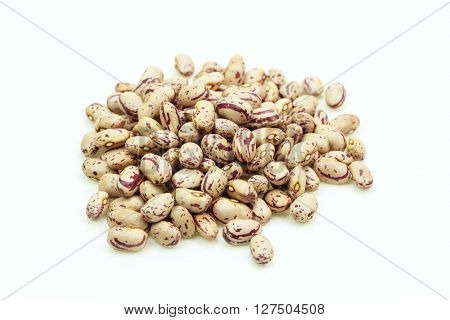 Stack of beans on white background