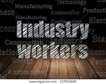Industry concept: Glowing text Industry Workers in grunge dark room with Wooden Floor, black background with  Tag Cloud